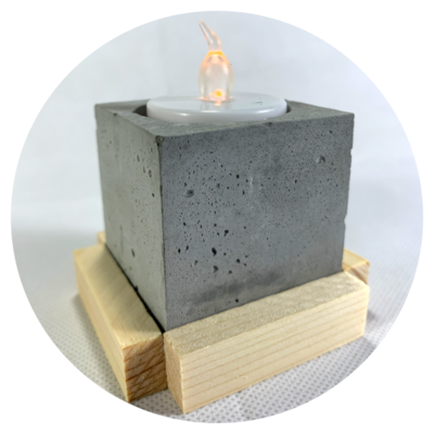 Tealight Candle Holder - Design #03c with Wooden Base