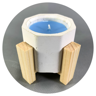 Concrete Octagonal Pot Candle with Wooden Stilts