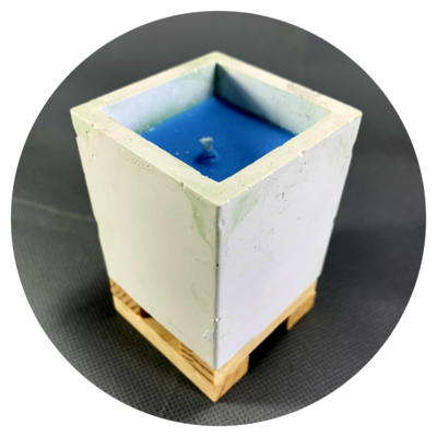 Concrete Cuboid Pot Candle with Wooden Stilts