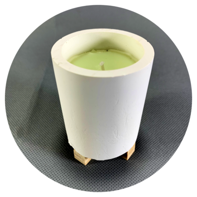 Concrete Cylindrical Pot Candle with Wooden Stilts