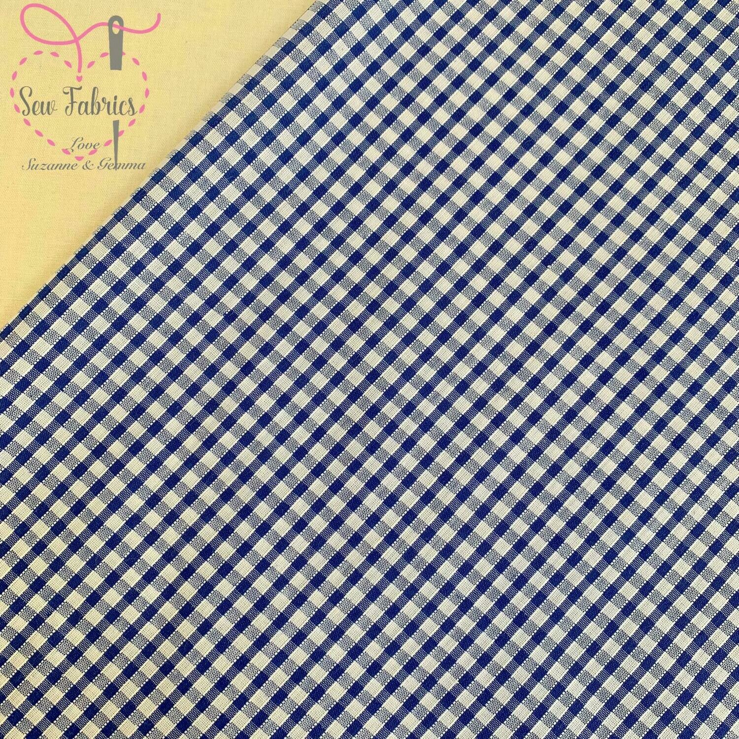 Classic Royal Blue Gingham Print Polycotton Fabric  School Colour Material For Craft & Sewing Projects