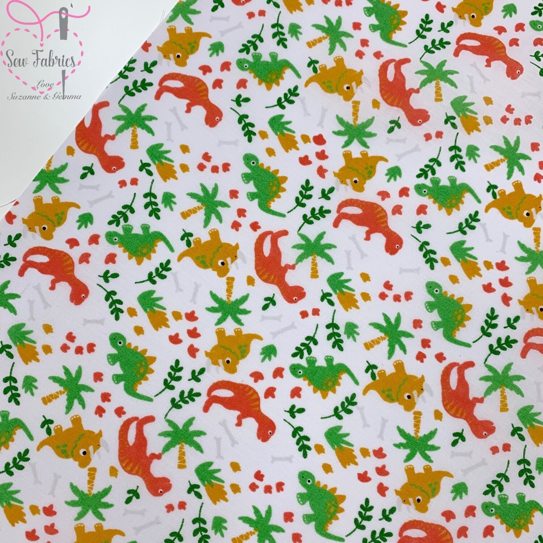 White Green Orange Mustard Dinosaur Print Polycotton Fabric Childrens Novelty Fabric Material Boys Unisex