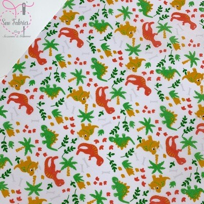 White Green Orange Mustard Dinosaur Print Polycotton Fabric Childrens Novelty Fabric Material Boys Unisex