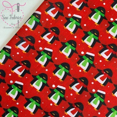 Christmas Red Penguin Print Polycotton, Xmas Festive Animal Material Fabric
