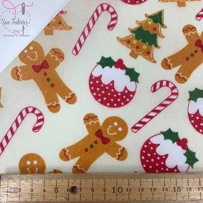 Christmas Pudding, Gingerbread Man, Candy Cane Polycotton Fabric Xmas Cream Festive Material