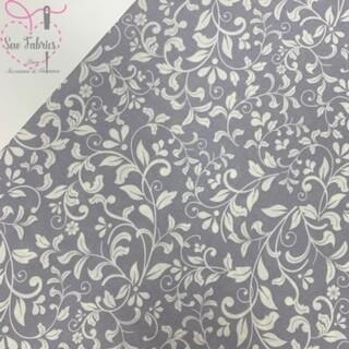 John Louden Silver Floral Korean 100% Craft Cotton Fabric