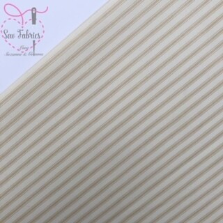 Rose and Hubble Tan Stripe Fabric 100% Cotton Poplin Beige Cream Geometric Material