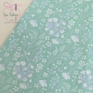 Rose & Hubble Green Wildflower Floral Fabric 100% Cotton Poplin