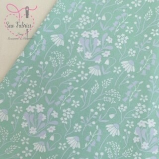 Rose & Hubble Green Wildflower Floral Fabric 100% Cotton Poplin