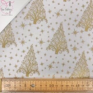 White and Gold Christmas Tree Glitter Christmas 100% Cotton Print Fabric