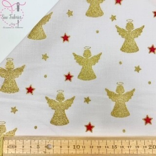 Ivory and Gold Angel Glitter Christmas 100% Cotton Print Fabric