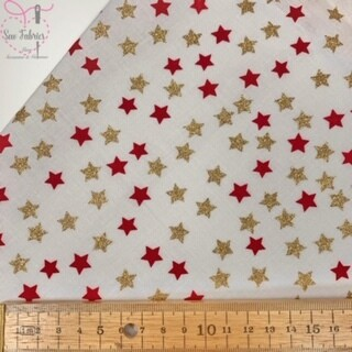Red and Gold Stars on Ivory Glitter Christmas 100% Cotton Print Fabric
