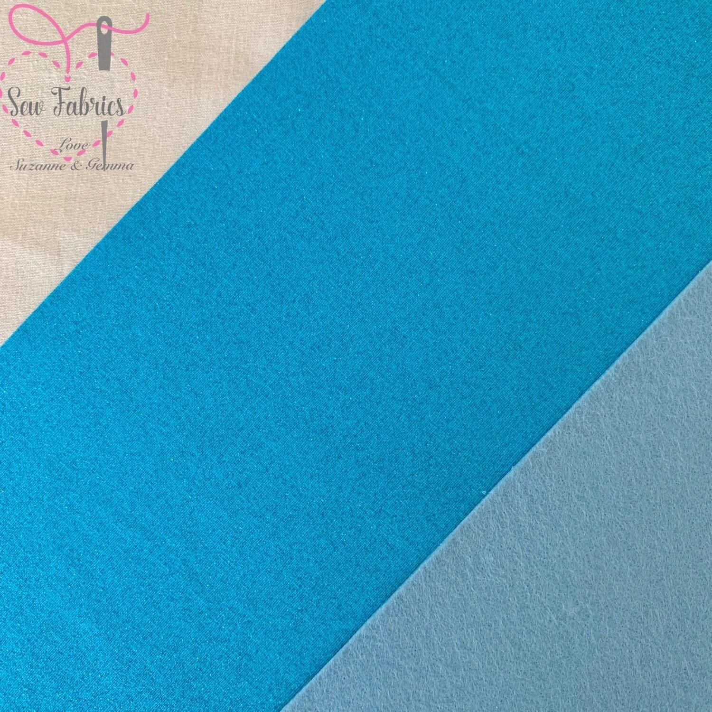 John Louden Turquoise Glitter 100% Cotton Fabric Backed onto Blue Acrylic Felt