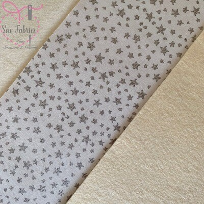 John Louden Grey Stargazer 100% Cotton Fabric With Cream Acrylic Felt Backing