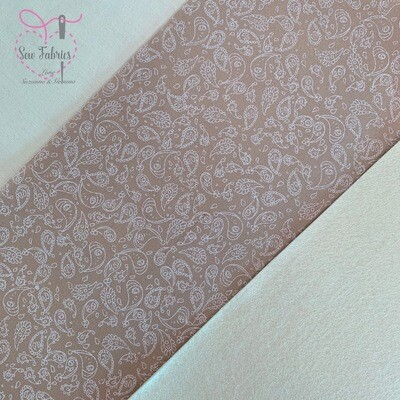 Beige Paisley Fabric with Cream Acrylic Felt Backing