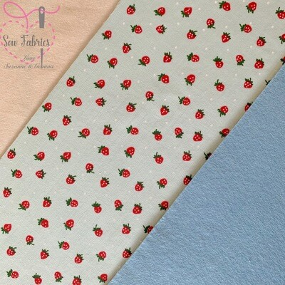 Mint Strawberry Print Polycotton Backed onto Blue Acrylic Felt