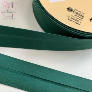 25 metres reel of Deep Green Plain Polycotton Bias Binding 30mm