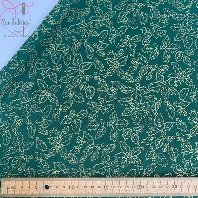Green Holly Berry Christmas Metallic Print 100% Cotton Fabric