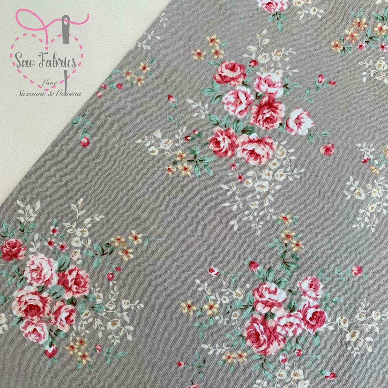 Rose & Hubble Silver Floral Fabric 100% Cotton Poplin Vintage Flower Material