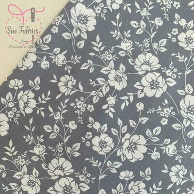 Rose &  Hubble Grey Ivory Bold Floral Fabric, 100% Cotton Poplin Material