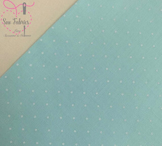 Mint Polka Dot Polycotton Fabric