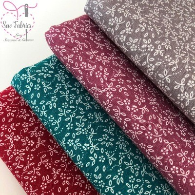 100% Craft Cotton Ditsy Daisy Fabric 4 x Fat Quarter Bundle, Autumn Winter Quilting, Crafting, Floral