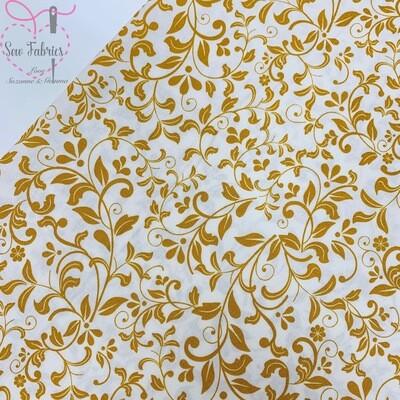 John Louden Fabric Ivory Ochre Floral Korean 100% Craft Cotton Fabric