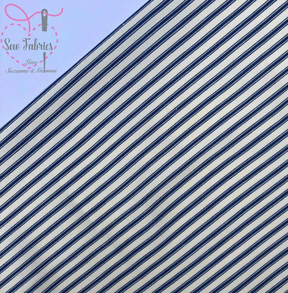 Rose and Hubble Navy Stripe Fabric 100% Cotton, Geometric Material