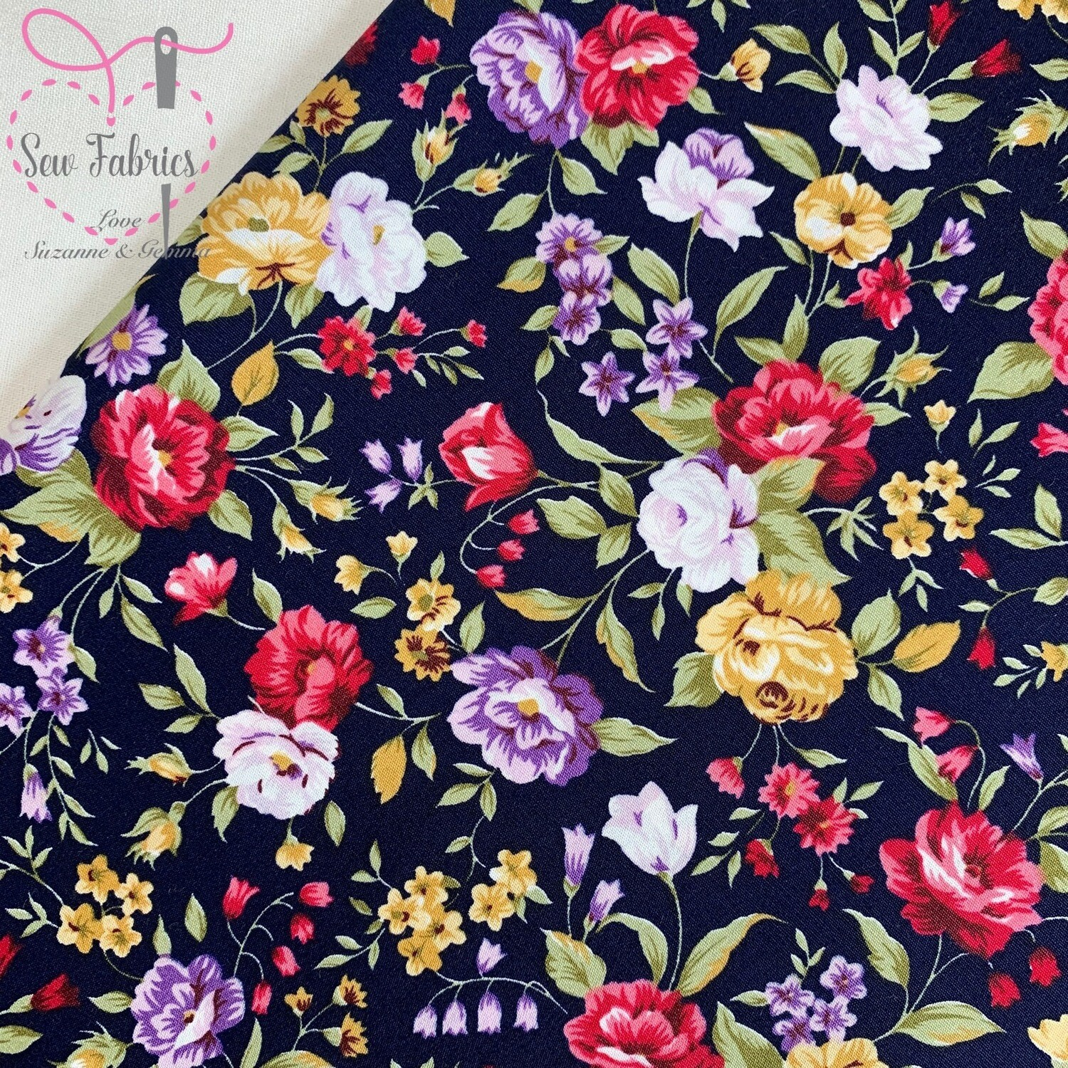 Rose & Hubble Traditional Navy Floral 100% Cotton Poplin Fabric