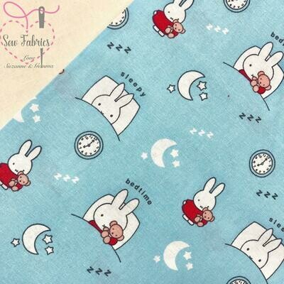 Miffy Fabric Sleeping Blue 100% Cotton Licensed