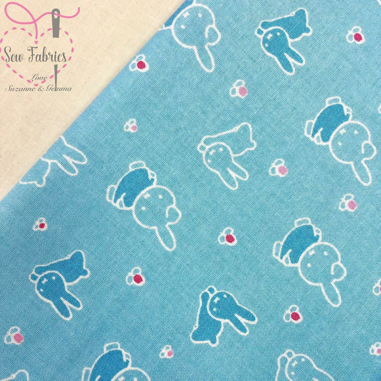 Miffy Fabric with Bunnies Blue 100% Cotton Licensed