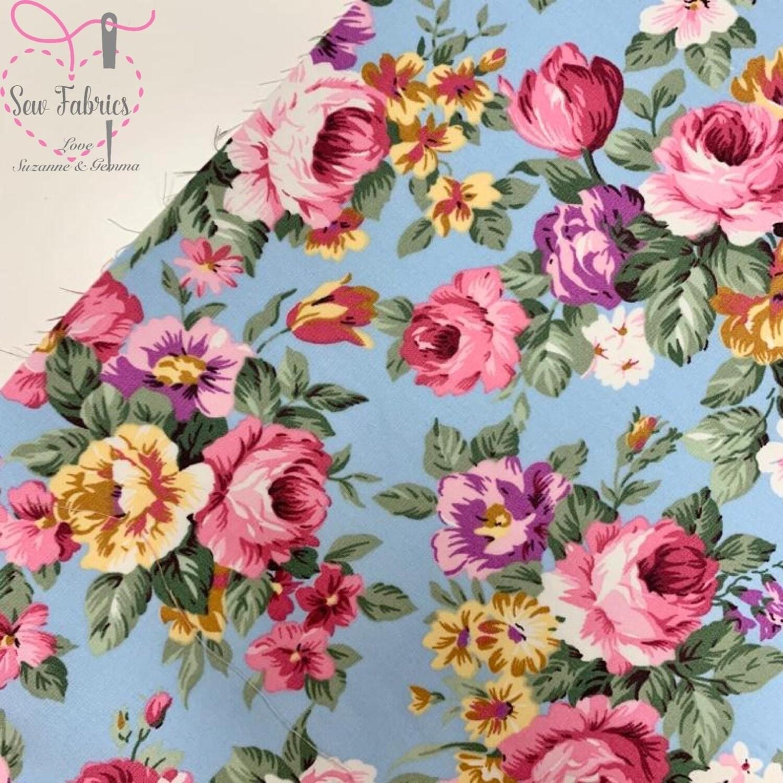 Rose & Hubble Sky Blue Large Peony Print 100% Cotton Poplin Floral Fabric
