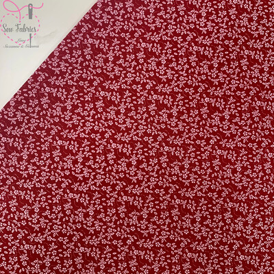 Cherry Red Ditsy Floral Polycotton Fabric, Material Suitable for Craft & Sewing Projects
