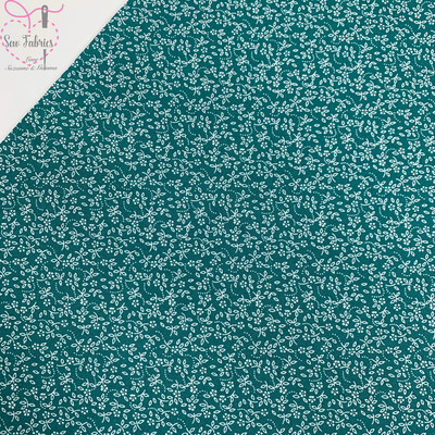 Teal 100% Cotton Ditsy Daisy Fabric
