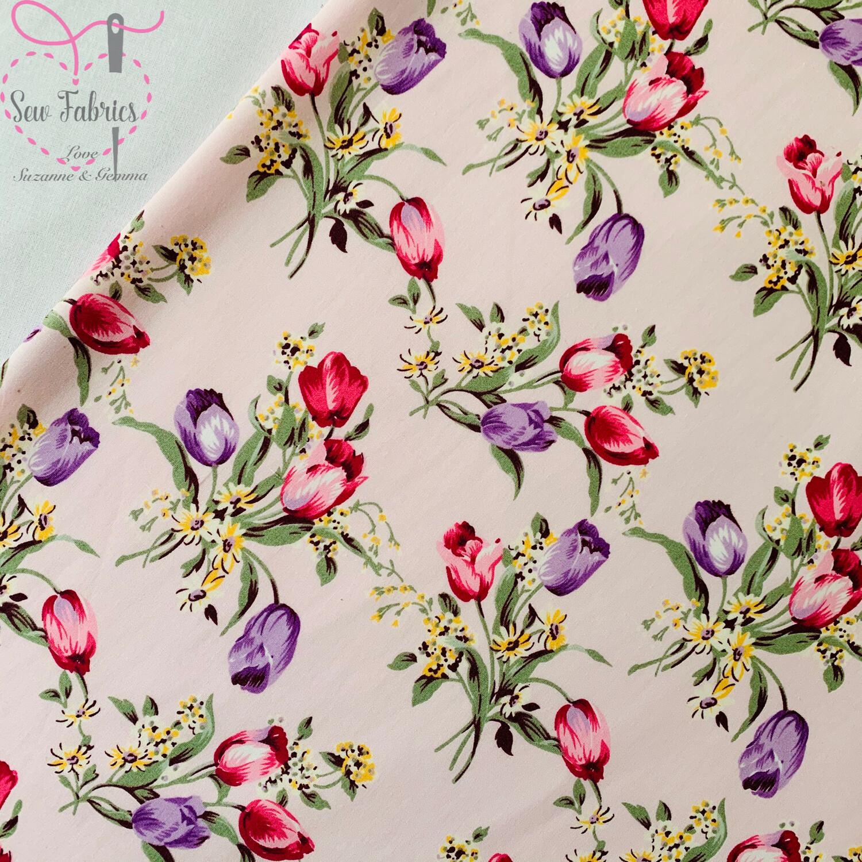 Rose & Hubble Pink Tulip Floral 100% Cotton Poplin Fabric