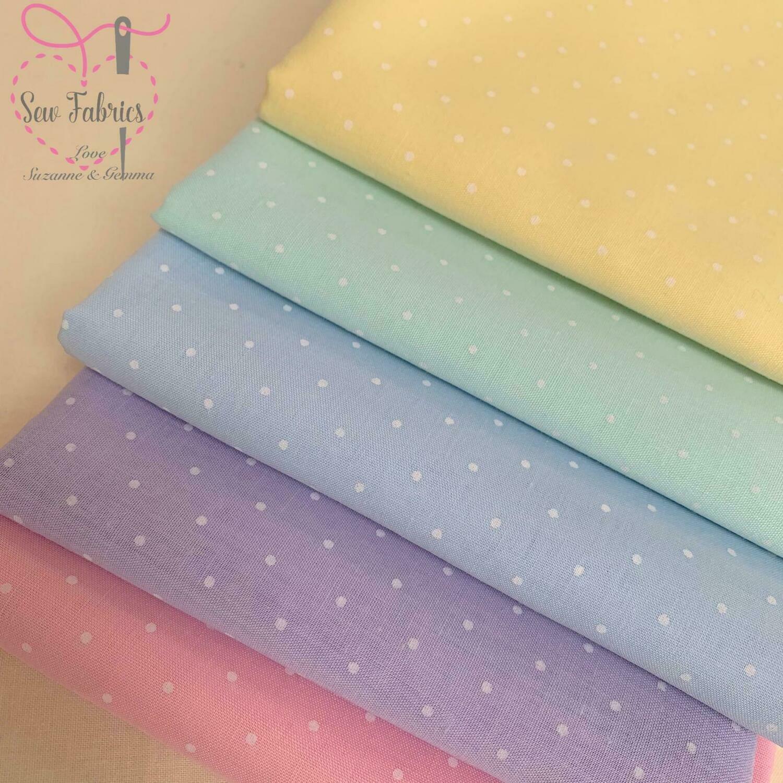 5 Piece Polka Dot Fat Quarter Bundle Polycotton Spot Fabric Pastel, Yellow, Mint Green, Pale Blue, Lilac and Pink