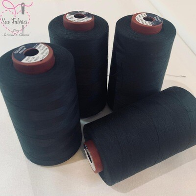4 Pack x 5000y Moon Polyester Thread Cones, Overlocker - Black