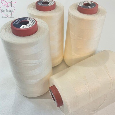 4 pack x 5000y Moon Polyester Thread Cone, Overlocker - Ivory