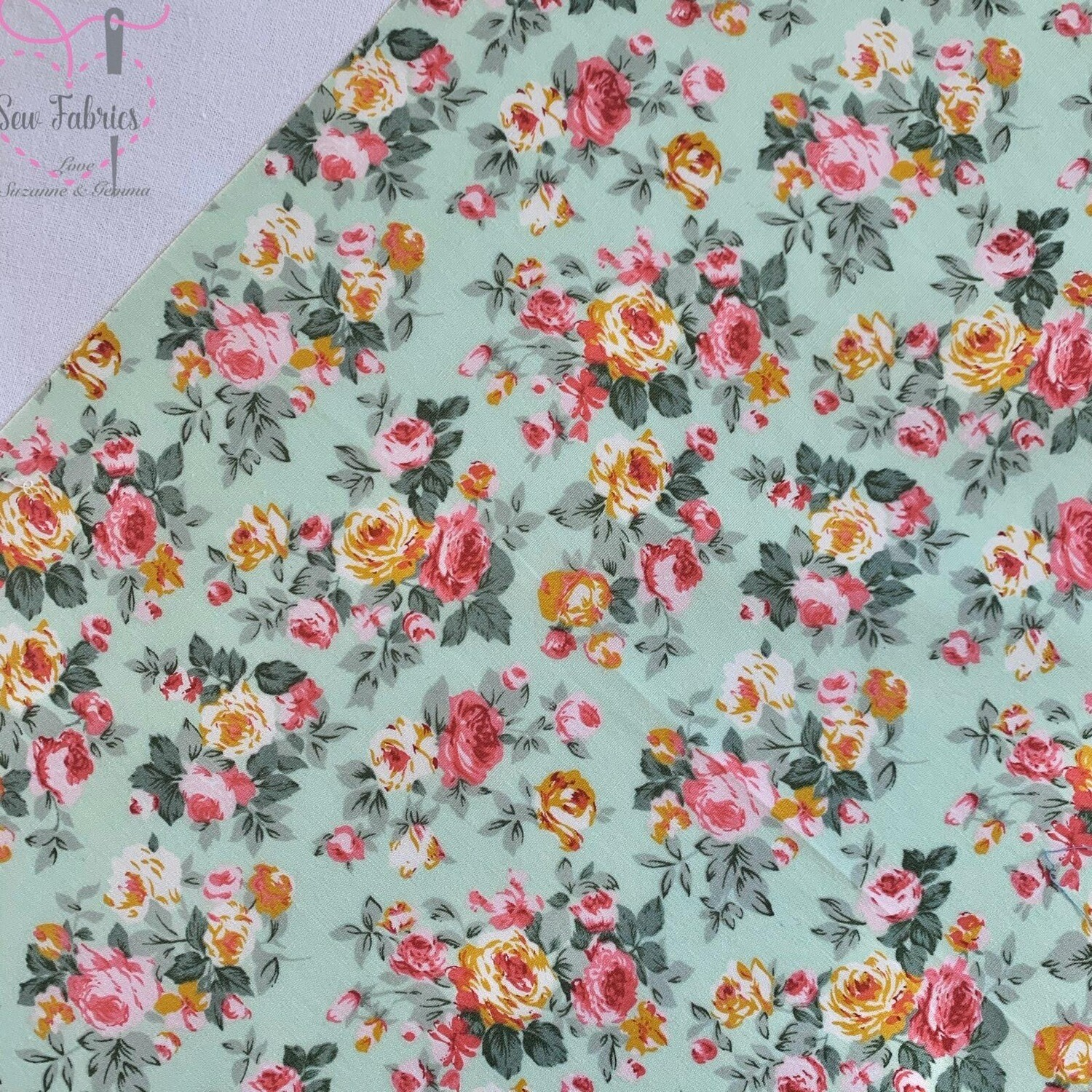 Rose and Hubble Meadow Bunch of Peonies Floral Fabric Vintage Floral 100% Cotton Poplin Flower Material Sewing