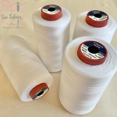 4 pack x 5000y Moon Polyester Thread Cones, Overlocker - White
