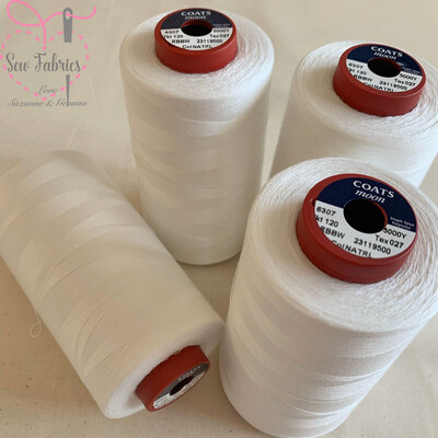 4 pack x 5000y Moon Polyester Thread Cones, Overlocker - Natural