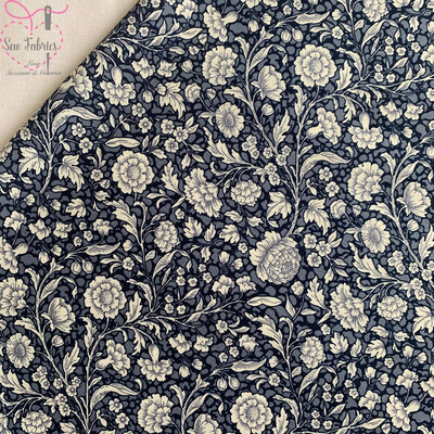 Rose and Hubble Navy Blue Floral Breeze Fabric Vintage Floral 100% Cotton Poplin Flower Material Sewing