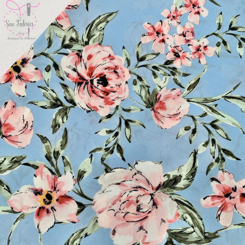 Light Blue Floral Print Viscose Fabric