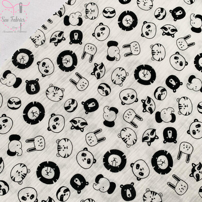 Animal Design 100% Cotton Woven Muslin Printed Fabric Off White