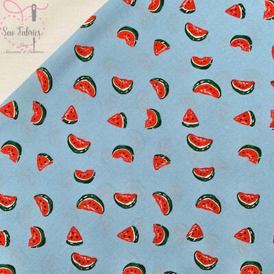 Light Blue Watermelon Fruit Print Viscose Fabric