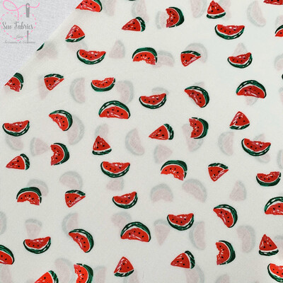 Off White Watermelon Fruit Print Viscose Fabric