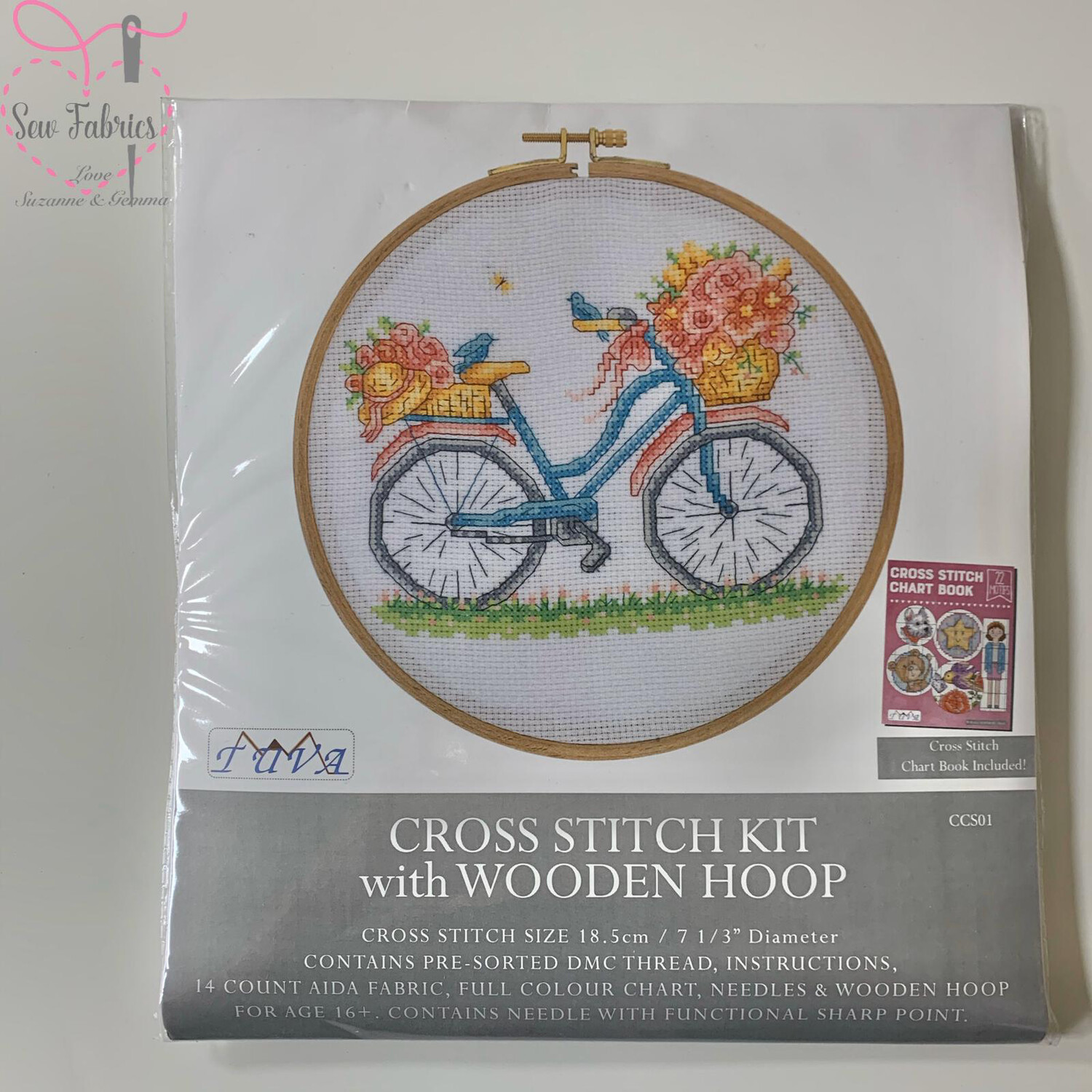 Birds, Blooms and Bicycles DMC Cross Stitch Hoop Kit
