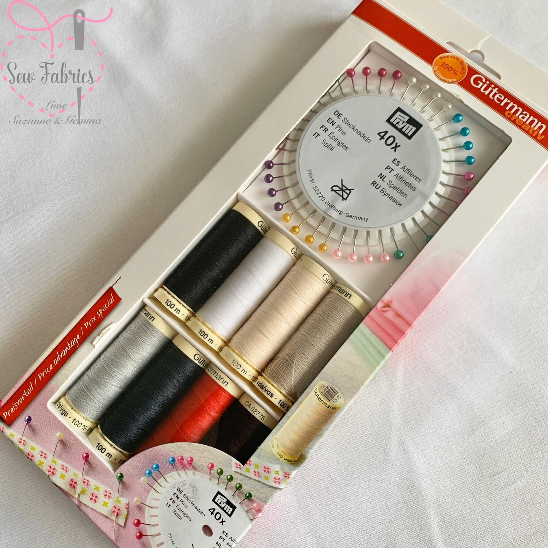 Gutermann Basic Assorted 8 x 100m Polyester Threads plus 40 Prym Pearl Head Pins