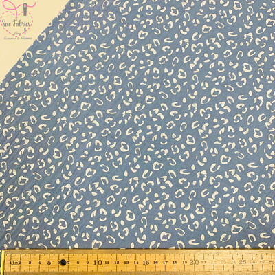 Light Blue Leopard Print 100% Cotton Woven Muslin Printed Fabric