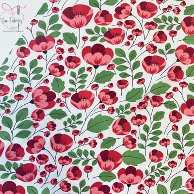 Rose & Hubble Poppy Floral Print 100% Cotton Poplin Fabric